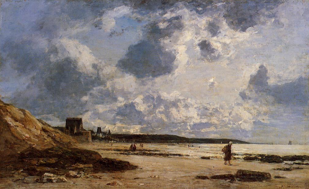 Peinture de la plage à Hennequeville artiste Eugène Boudin